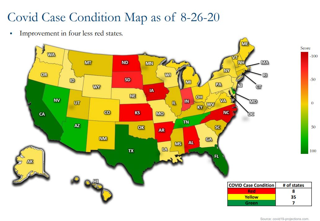graph showing covid case condition map as of 8-26-2020